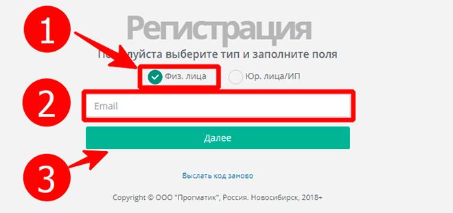 Ввод email при регистрации в личном кабинете Экология-Новосибирск
